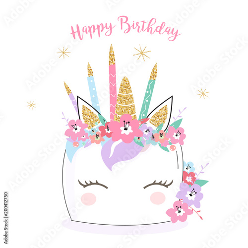 Happy Birthday Unicorn Cake Card Background In Vector Hand Drawn Doodle Illustration For Mugs Invitations Cards