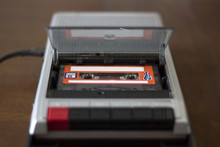 Vintage Cassette Tape Player With Audio Cassette Tape Inside