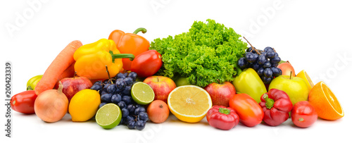 Poster Légumes frais Large pile ripe fruits and vegetables isolated on white for project.