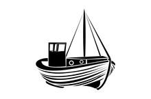 Vintage Fisherman Boat Logo Design