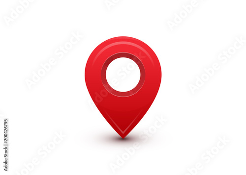 Pointer. Red marker for map destination, location Wallpaper Mural