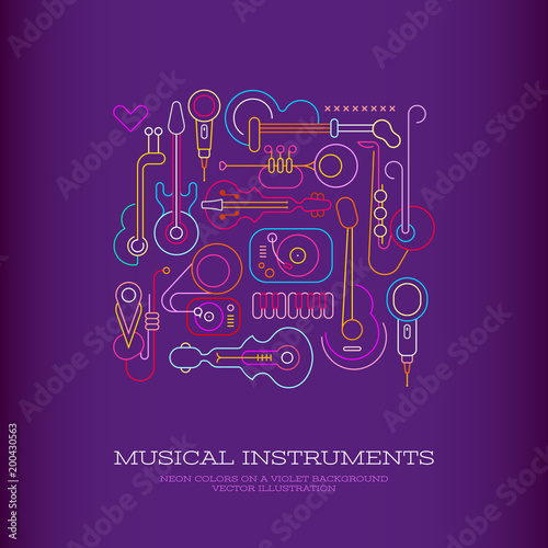 Tuinposter Abstractie Art Musical Instruments Design