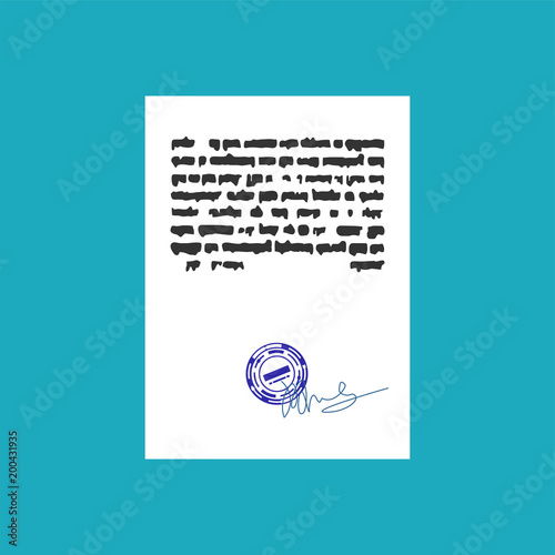 Document With Stamp Seal And Signature Official Office Paper Template Signed Contract