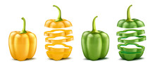 Vector Realistic Green And Yellow Bell Peppers. Whole And Sliced Isolated On White Background. Pod Of Sweet Bulgarian Pepper, Ripe Vegetable For Cooking And Eating, Organic Vegetarian Food.