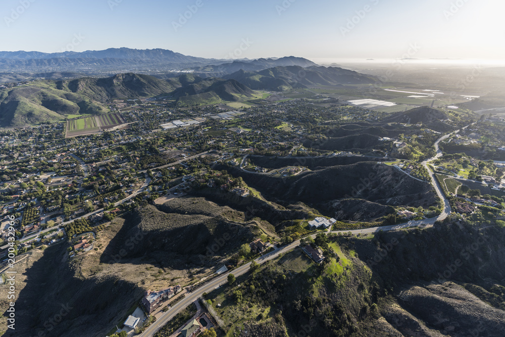 Fototapety, obrazy: Afternoon aerial view of Santa Rosa Valley homes and hillsides in scenic Camarillo California.