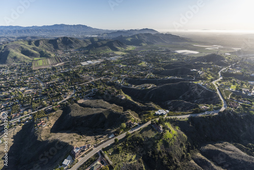 Obraz Afternoon aerial view of Santa Rosa Valley homes and hillsides in scenic Camarillo California. - fototapety do salonu