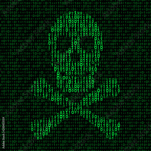 Photo  skull and crossbones with binary code. virus concept
