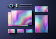 Holographic metallic mock up for business identity. Set of catalogue, folder, card, envelope, pencils, tape and eraser isolated on dark background. Metallic surface objects in 3D render illustration.