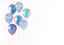 Set Of 3D Render Holographic Balloons Isolated On White Background With Empty Space For Text. Trendy Realistic Design 3d Elements For Birthday, Presentation, Promo, Party Or Other Events.