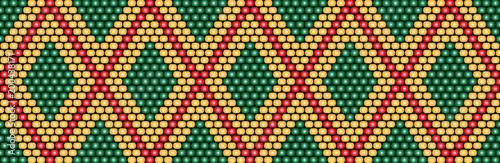 Trendy, modern ethnic beaded, border, pattern, embroidery cross, diamonds, strip Canvas Print