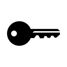 Simple, Flat, Black Silhouette Of A House Key. Isolated On White