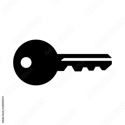 Simple, flat, black silhouette of a house key. Isolated on white Tapéta, Fotótapéta