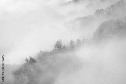 Photo  Paysage de montagne dans la brume