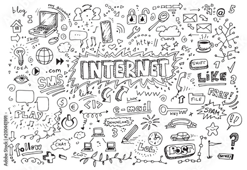 Obraz Hand drawn internet doodles - fototapety do salonu