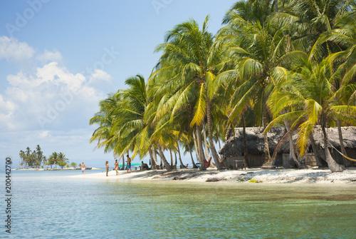 Isla, paraíso, edén, puesta de sol palmeras, Guna Yala, Kuna Yala, San Blas, Pan Wallpaper Mural