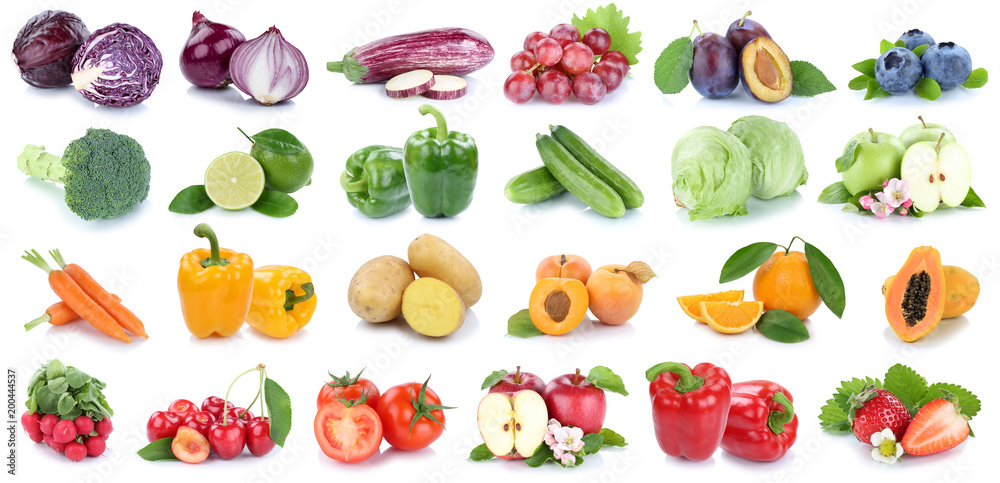 Fruits and vegetables collection isolated apple orange strawberries colors tomatoes fresh fruit