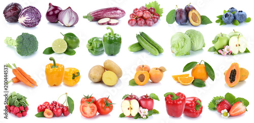 Poster Cuisine Fruits and vegetables collection isolated apple orange strawberries colors tomatoes fresh fruit