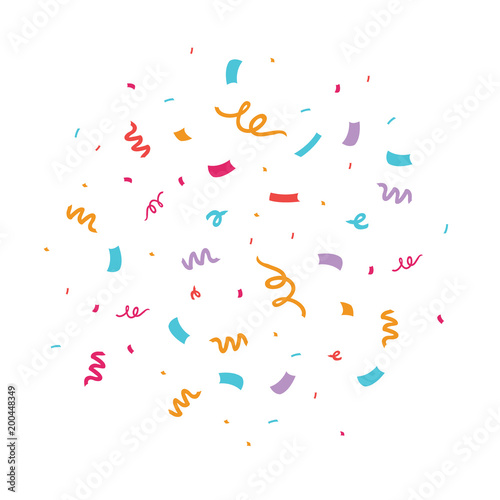 Fototapeta Colorful confetti vector illustration. Great for a birthday party or an event celebration invitation or decor. obraz na płótnie