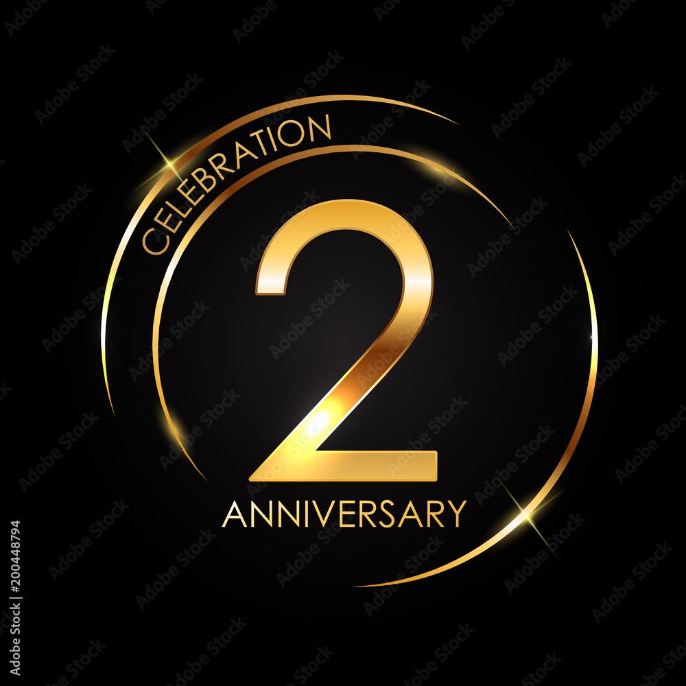 Fototapeta Template 2 Years Anniversary Vector Illustration