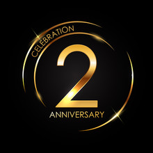 Template 2 Years Anniversary Vector Illustration