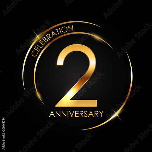 Photographie  Template 2 Years Anniversary Vector Illustration