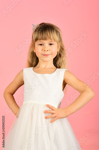 8eefb32ad626 Look, hairdresser, makeup. Child girl in stylish glamour dress, elegance.  Fashion model on pink background, beauty. Fashion and beauty, little  princess.