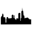 chicago city skyline silhouette on white background, in black