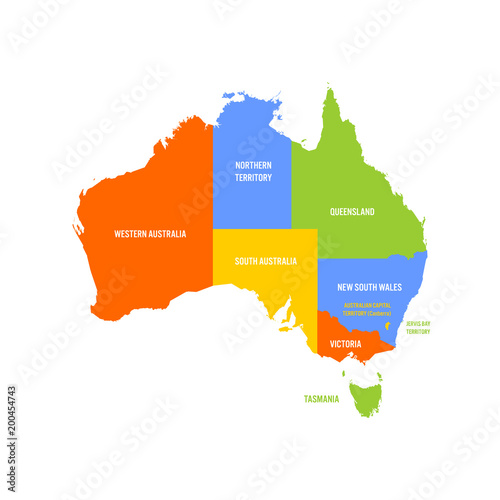 Map Of Australia With States And Territories.Simplified Map Of Australia Divided Into States And Territories