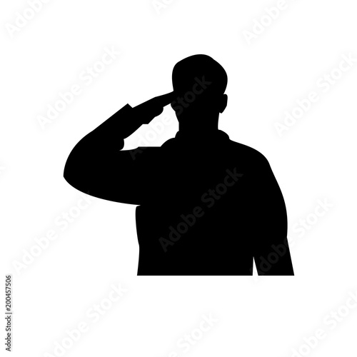 Fotografering saluting soldier silhouette on white background, in black