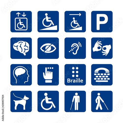 Blue square set of disability icons Canvas Print
