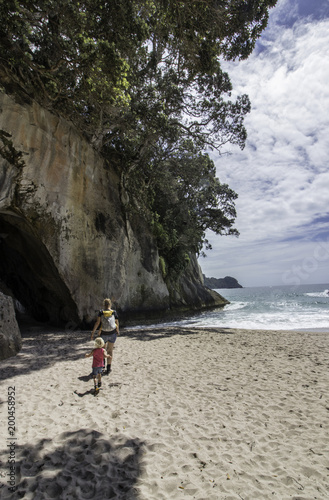 Aluminium Prints Cathedral Cove catherdral cove day hike beach view new zealand vacation family kids