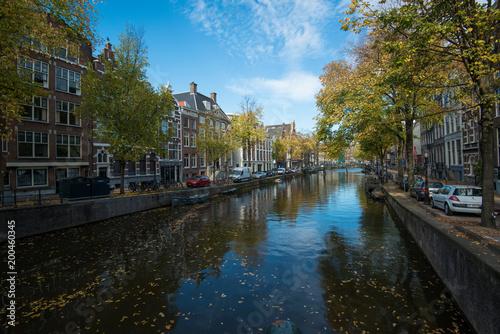 Fotografie, Obraz  Amsterdam canal scene