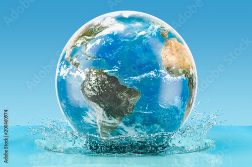 Fotografía  Earth Globe with water splash on the blue background, 3D rendering
