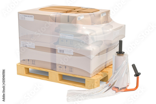 Cuadros en Lienzo Manual film stretch wrapping machine and wooden pallet with parcels wrapped in t