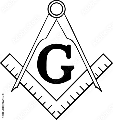 Valokuvatapetti Freemasonry Ruler and Compasses
