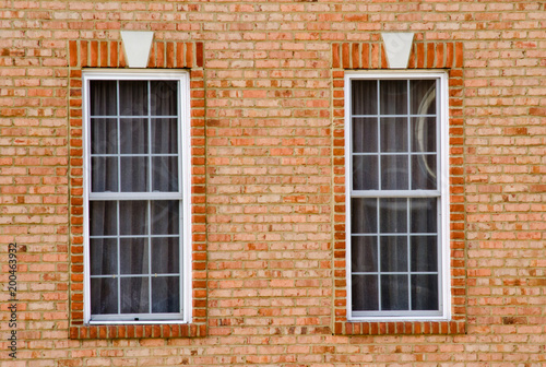 Two adjacent windows with bricks background Wallpaper Mural
