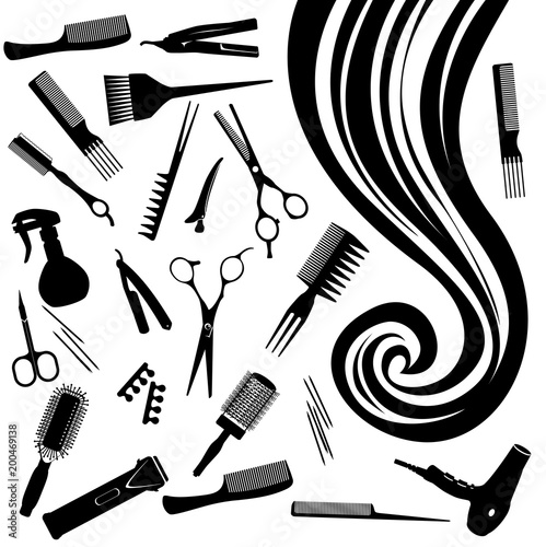 Vector Ringlet Of Hair And Hairdressers Tools