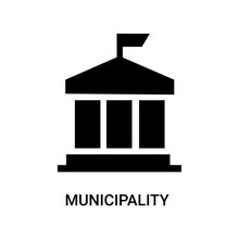 Municipality Icon On White Background, In Black, Vector Icon Illustration