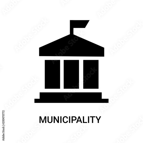 Fotografija municipality icon on white background, in black, vector icon illustration