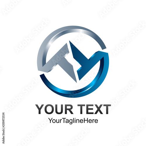 3d circle letter t or tt initial alphabet logo design template element