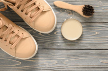 Shoe Care Kit (horsehair Buff Brush, Wax Polish Neutral Cream) On Grey Wooden Background. Leather Shoes Care And Cleaning Concept. Top, Above View. Flat Lay. Copy Space