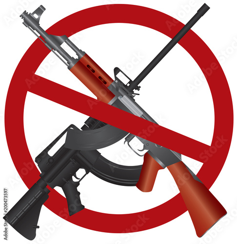 Fotografie, Obraz  Assault Rifle AR 15 AK 47 Gun Ban Illustration