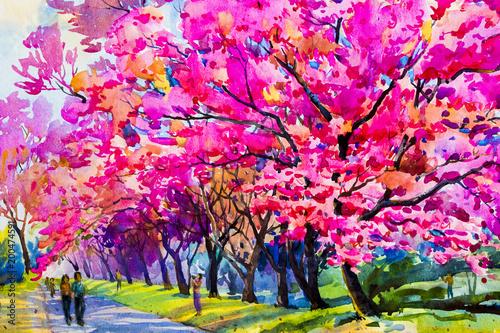 Akwarela malarstwo oryginalne różowe kwiaty z dzikich wiśni himalajskich.