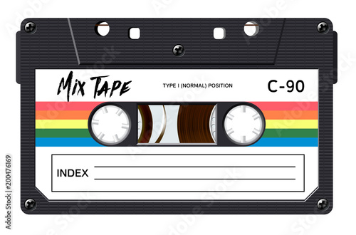 Fototapeta Cassette with retro label as vintage object for 80s revival mix tape design