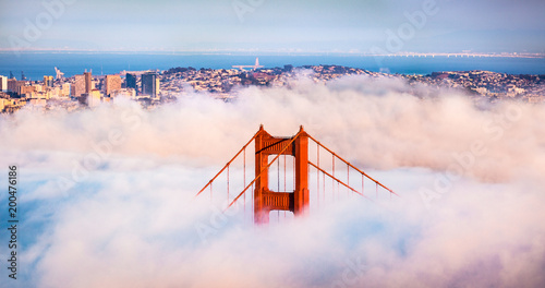 San Francisco Golden Gate Bridge in Thick Fog Canvas Print