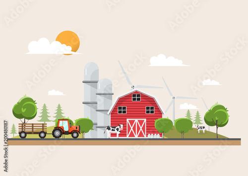 Agriculture and Farming in rural landscape scene design