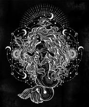 Mermaid Girl With Magic Mirror...