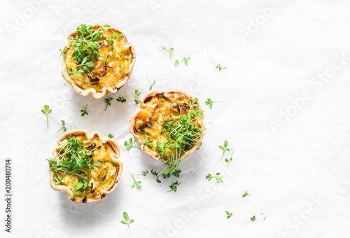 Mini savory pie with chicken, leek, cheese on light background, top view Canvas Print