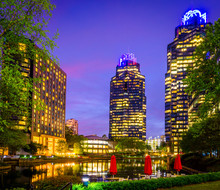 Sandy Springs Ga Architecture Towers Buildings Skyline City Night Long Exposure Photography