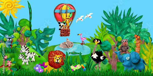 Photo  Traveling  by airballoon Zoo animals 3D rendering children banner illustration